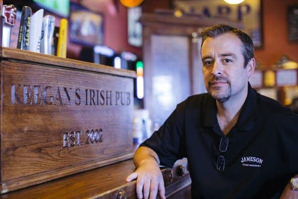 Marty Newman inside his bar, Keegan's pub.