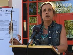 Winona LaDuke speaks at a news conference.