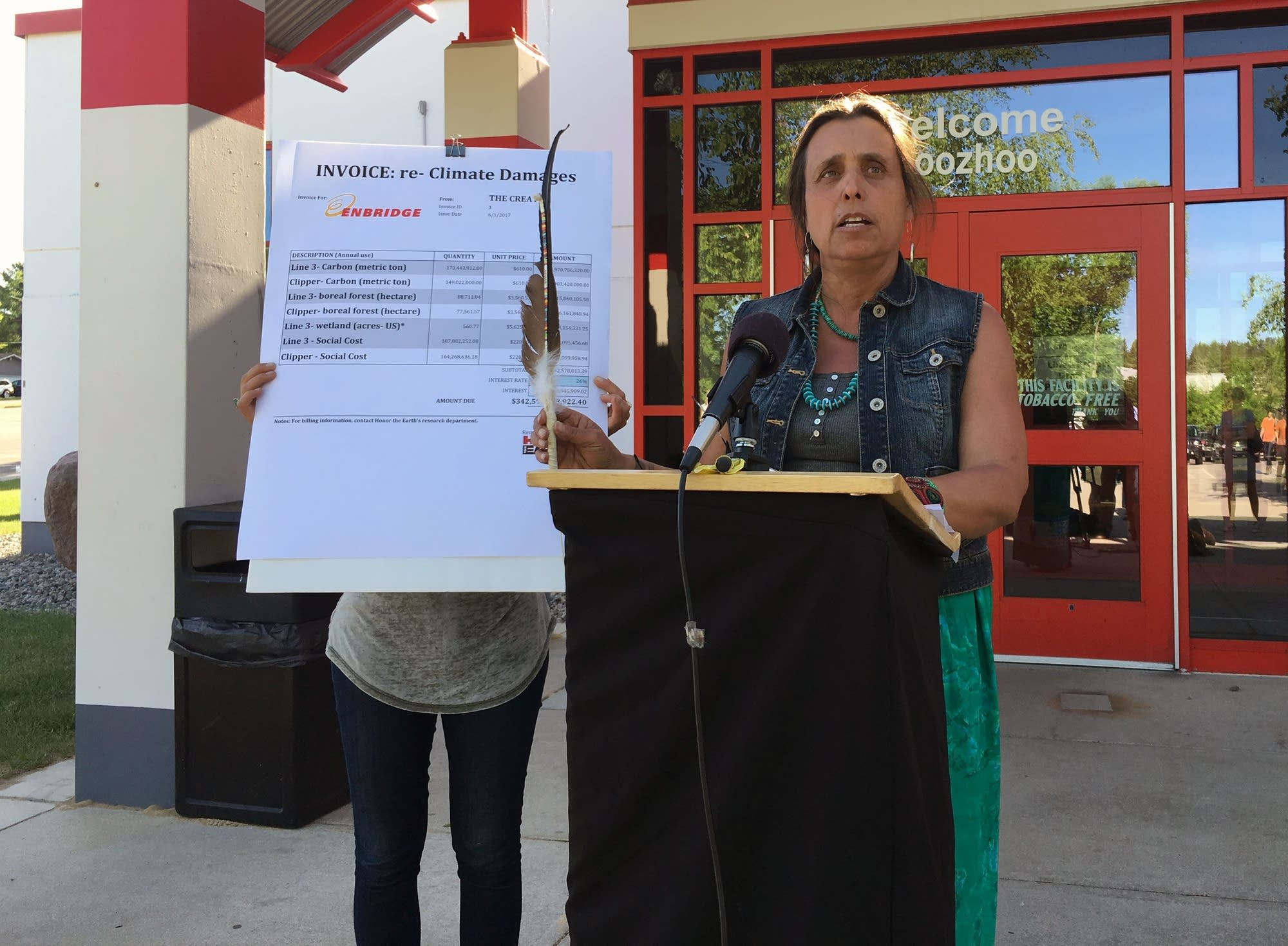 Winona LaDuke speaks at a news conference.