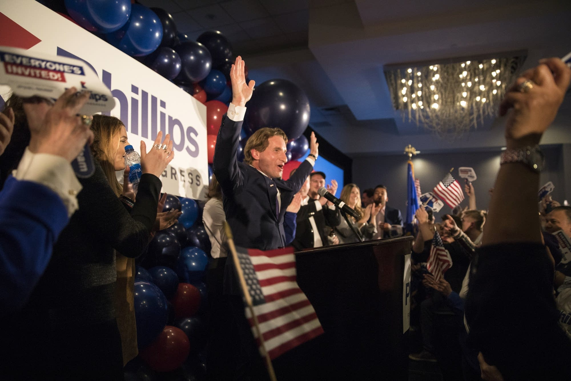 Dean Phillips celebrates his election win.