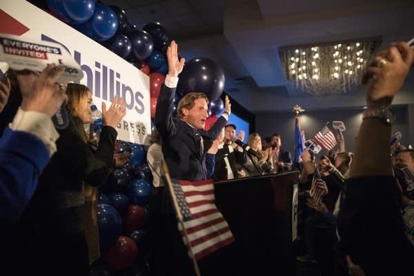 Dean Phillips celebrates his election win.