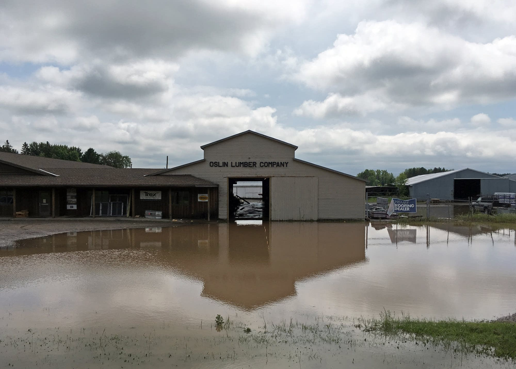 Oslin Lumber Company flooded in Mora after heavy rains soaked the region.