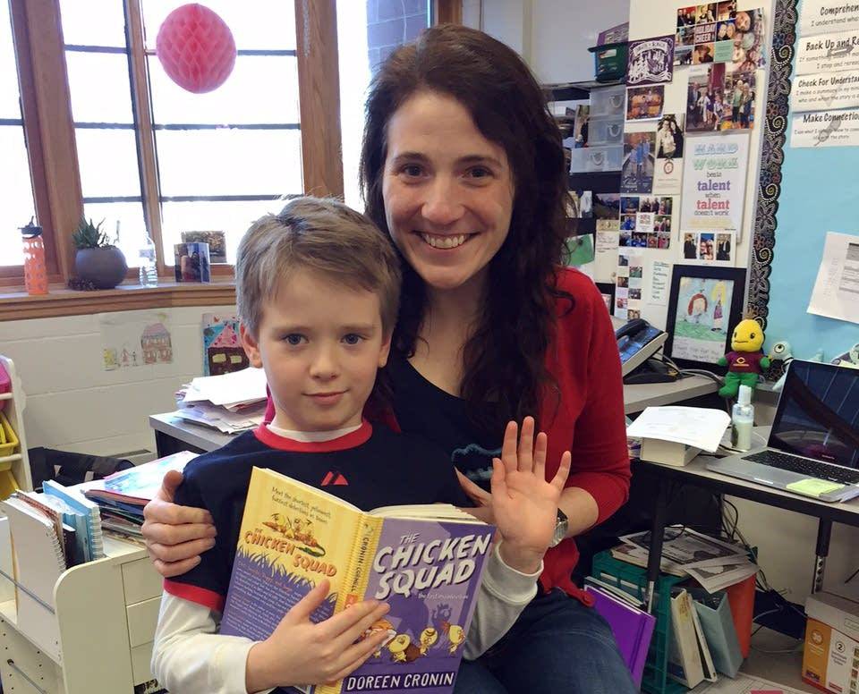 Anne Ursu and her son, Dash Broich, 8