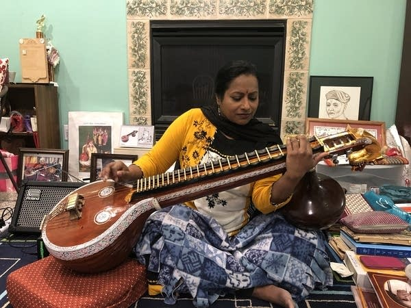 Nirmala Rajasekar demonstrates playing the veena