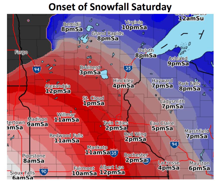 Snowfall onset timing