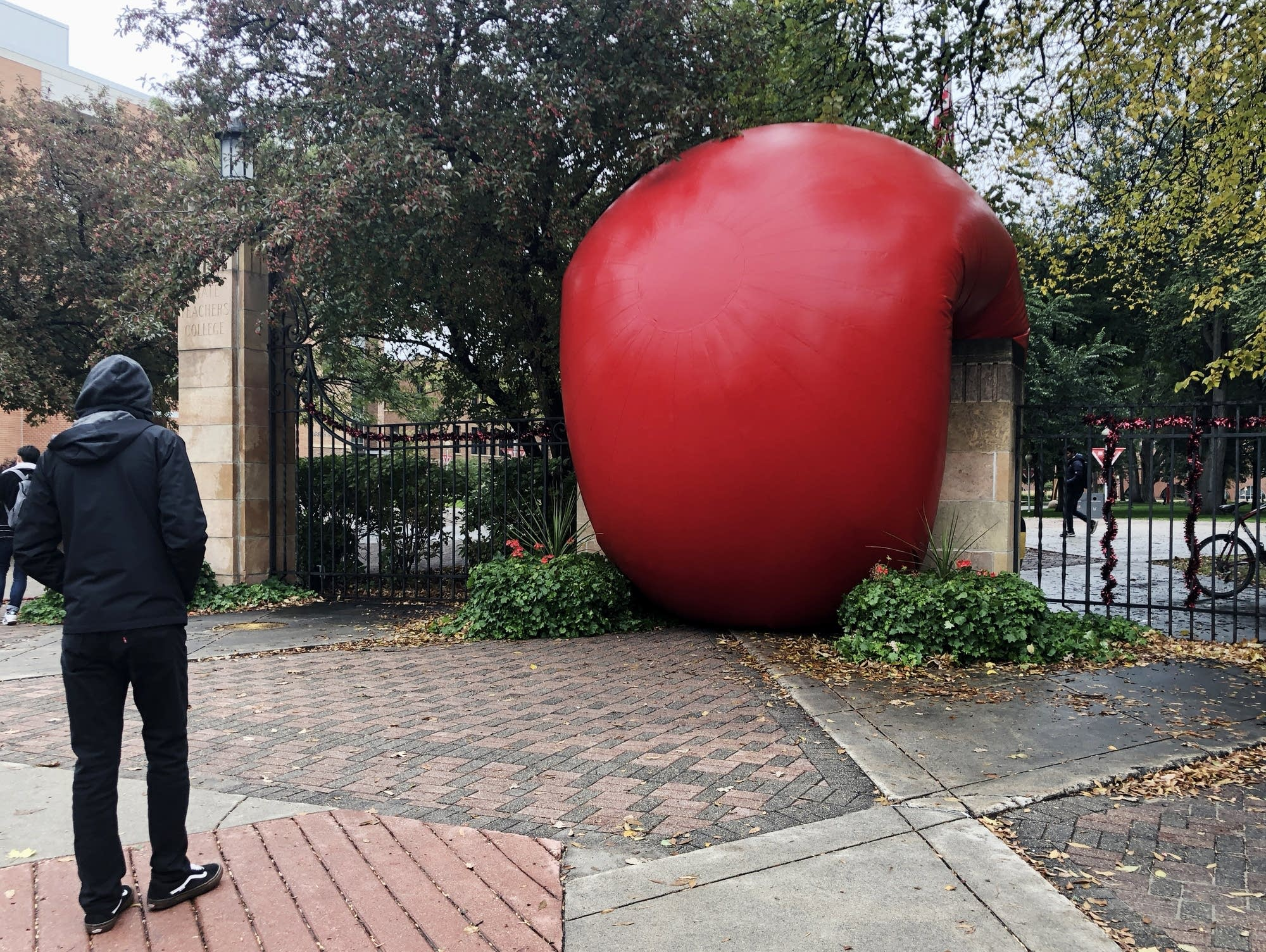 A giant red ball appeared on Minnesota State University Moorhead Friday.