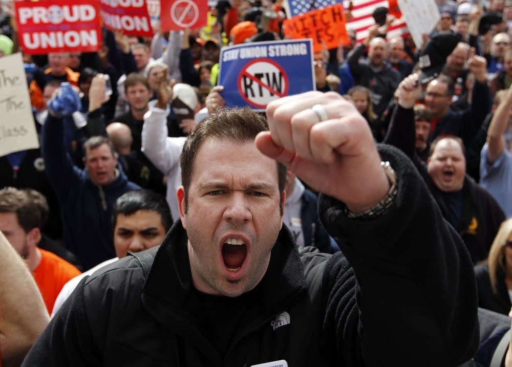 Anti-right-to-work protesters
