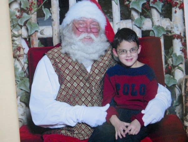 Posing with Santa Claus