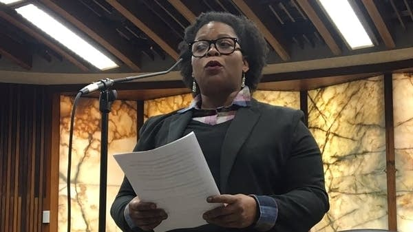 Angela Conley speaks during the Hennepin County swearing-in ceremony.