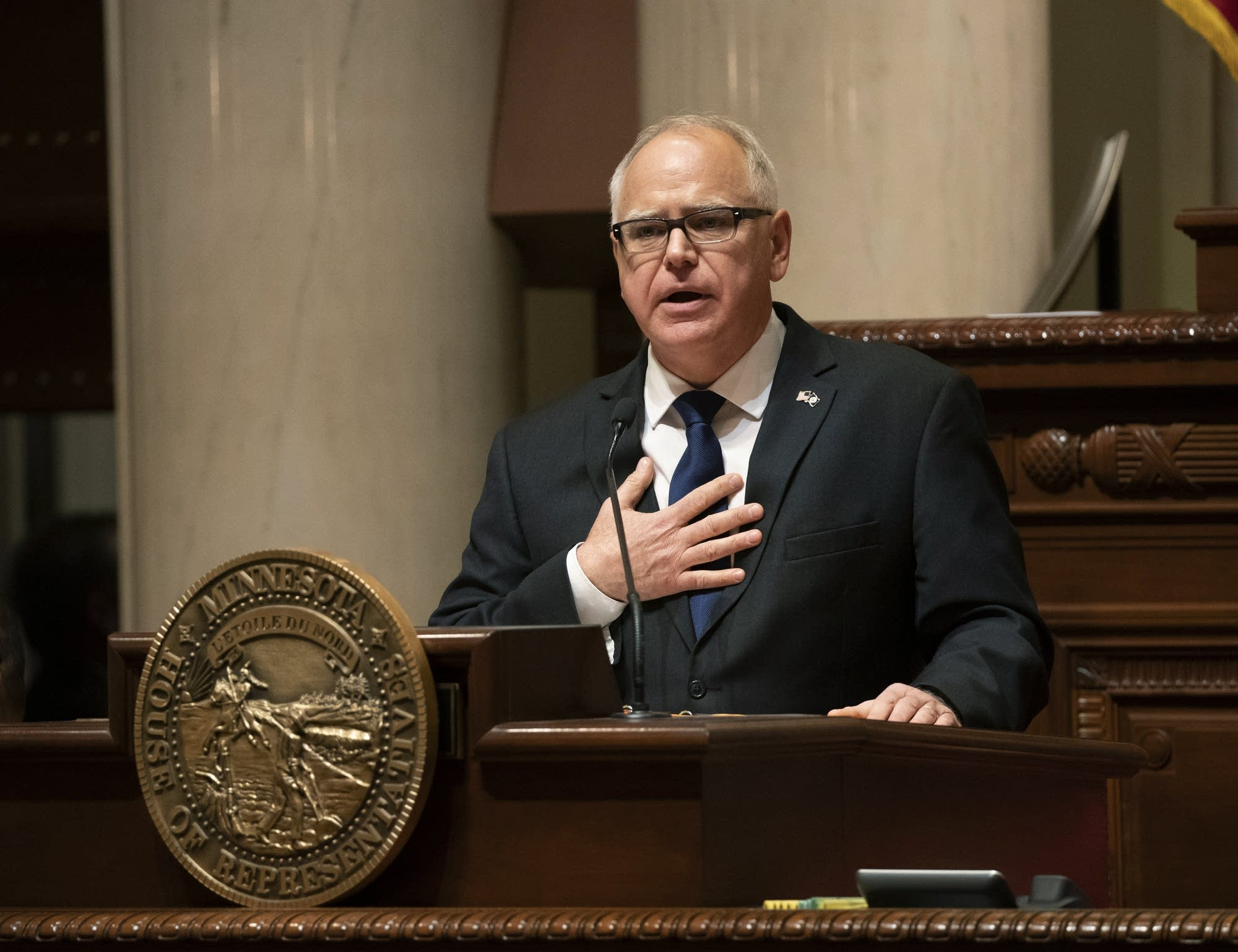 Gov. Tim Walz speaks during his State of the State address.