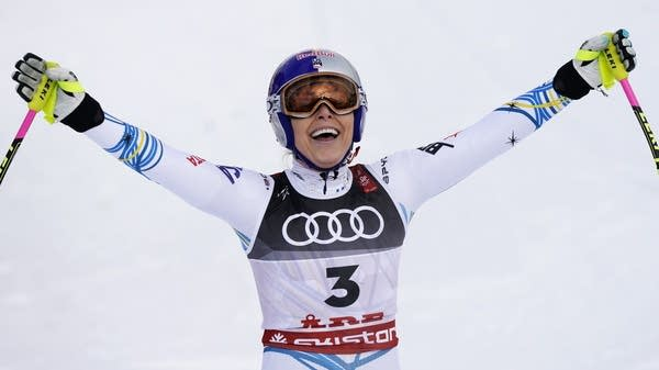 American skier Lindsey Vonn smiles in the finish area