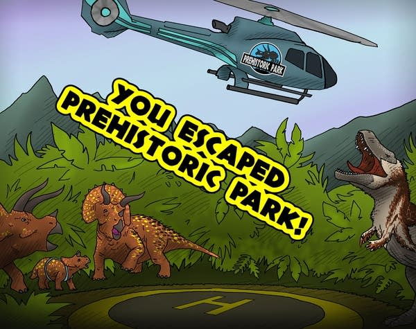 """A picture from the """"Prehistoric Park"""" room at the Trapped Puzzle Rooms"""