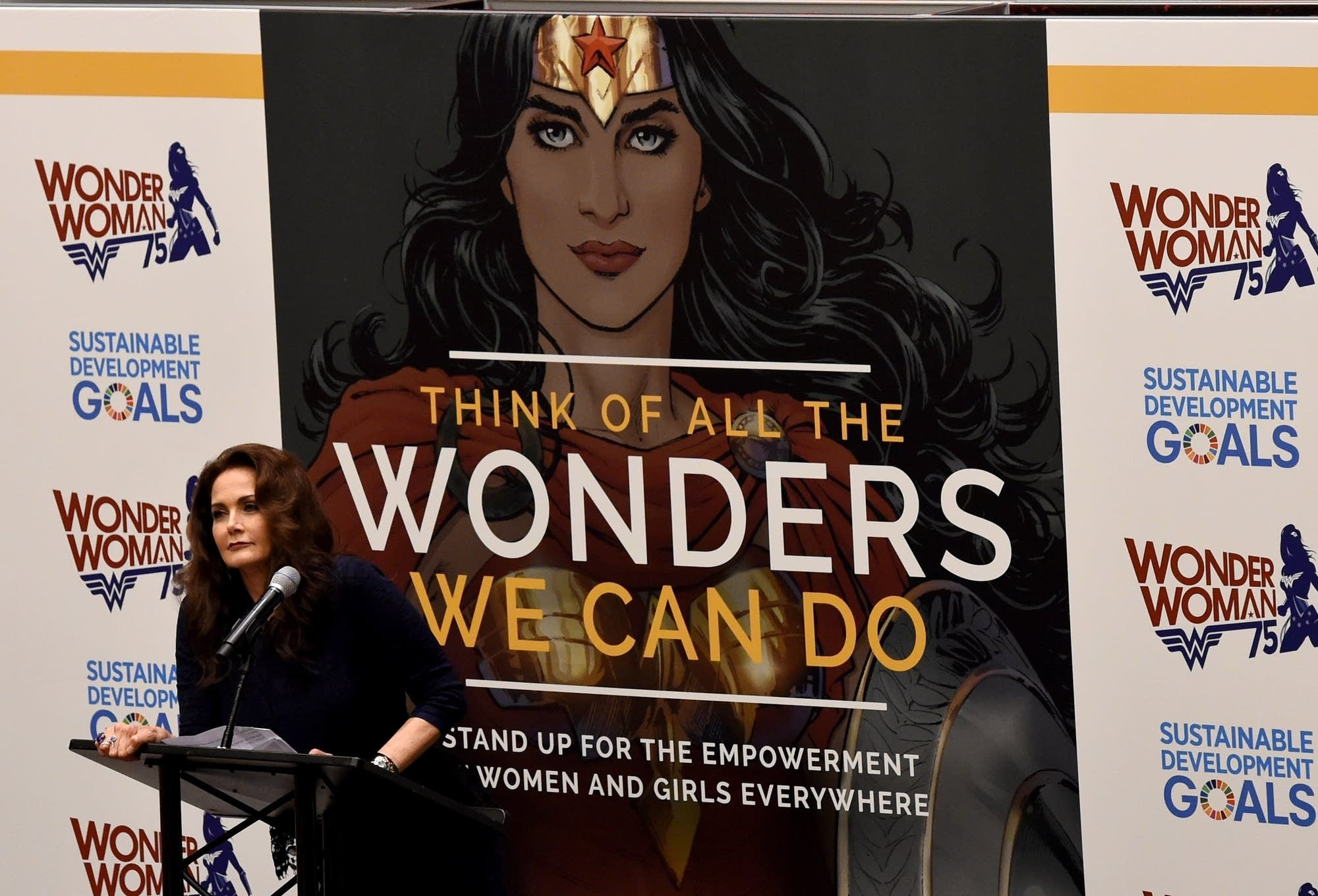 Actress Lynda Carter with the U.N.'s Wonder Woman