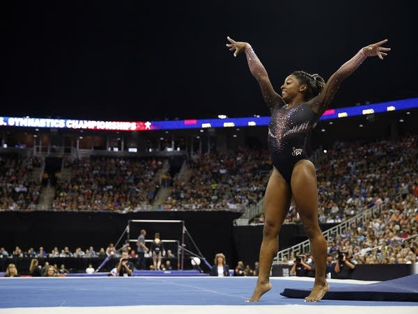 Simone Biles competes on floor exercise