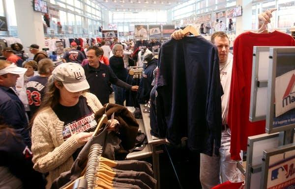 Fans shop for gear