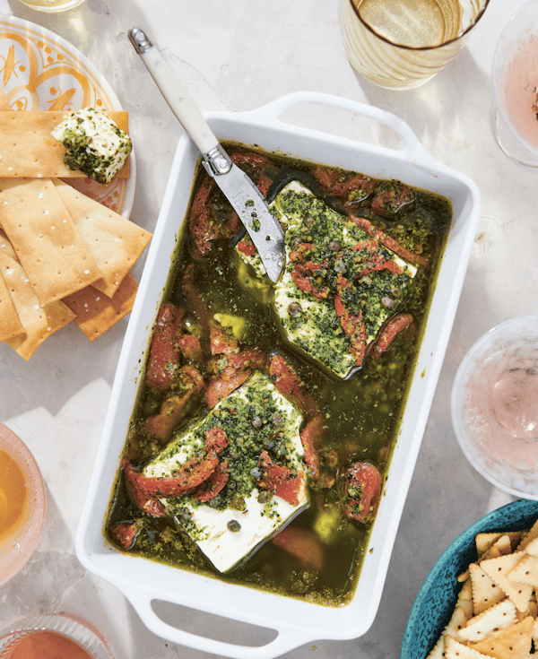 Baked Feta with Roasted Peppers, Capers and Salsa Verde