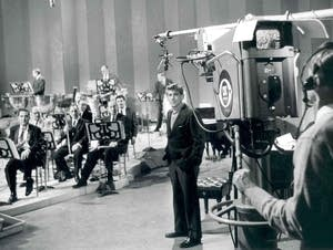 Leonard Bernstein on a TV set with the NY Phil