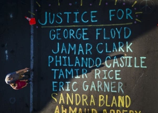 Names written on the street.
