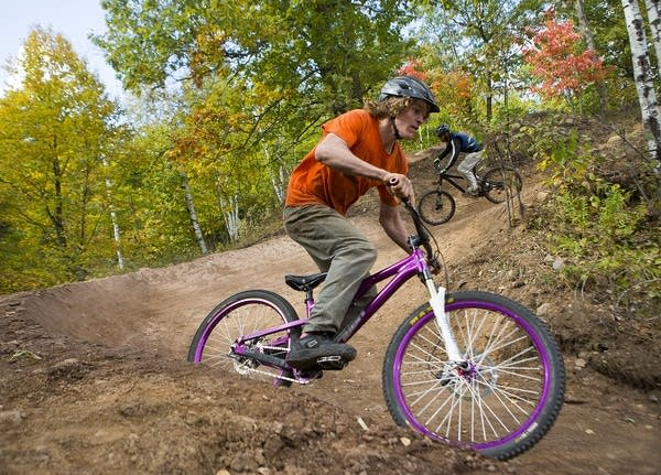 Testing the new mountain biking trail
