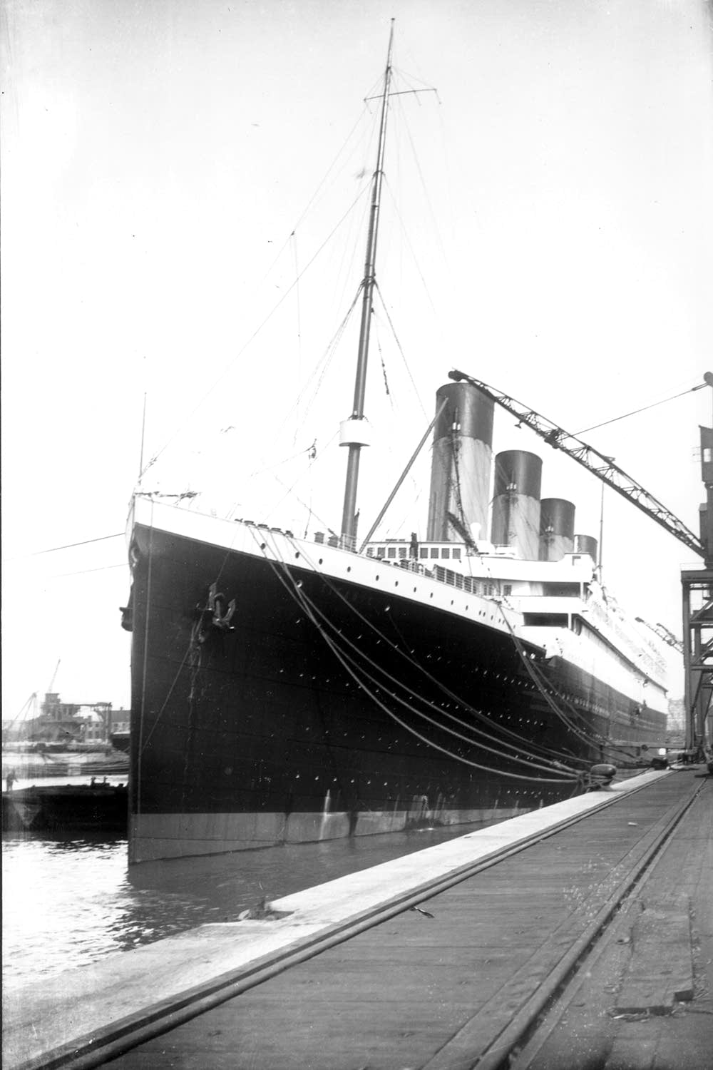 The Titanic at its dock in Southampton