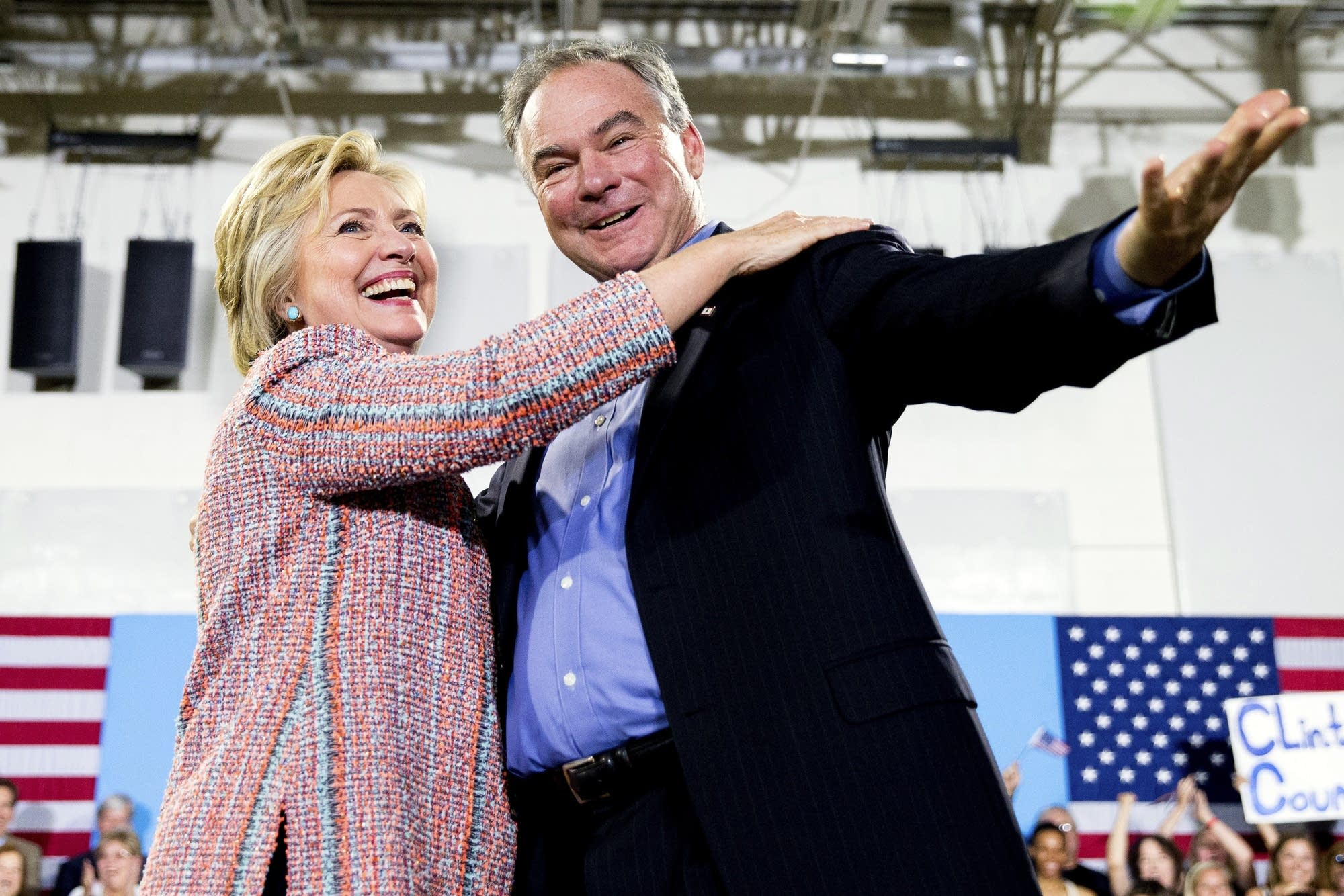 Hillary Clinton and Tim Kaine earlier this month.