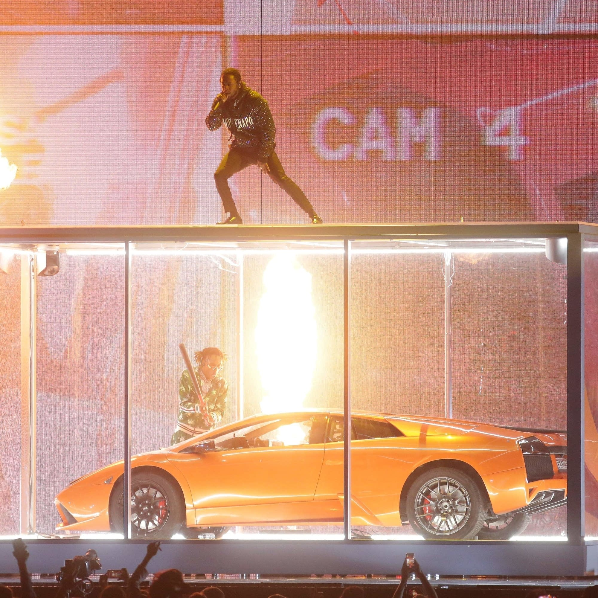 Kendrick Lamar performs at the BRIT Awards 2018.