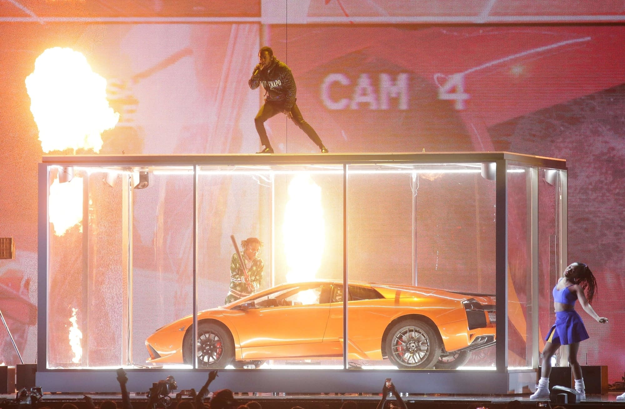 Kendrick Lamar performs at the BRIT Awards 2018.