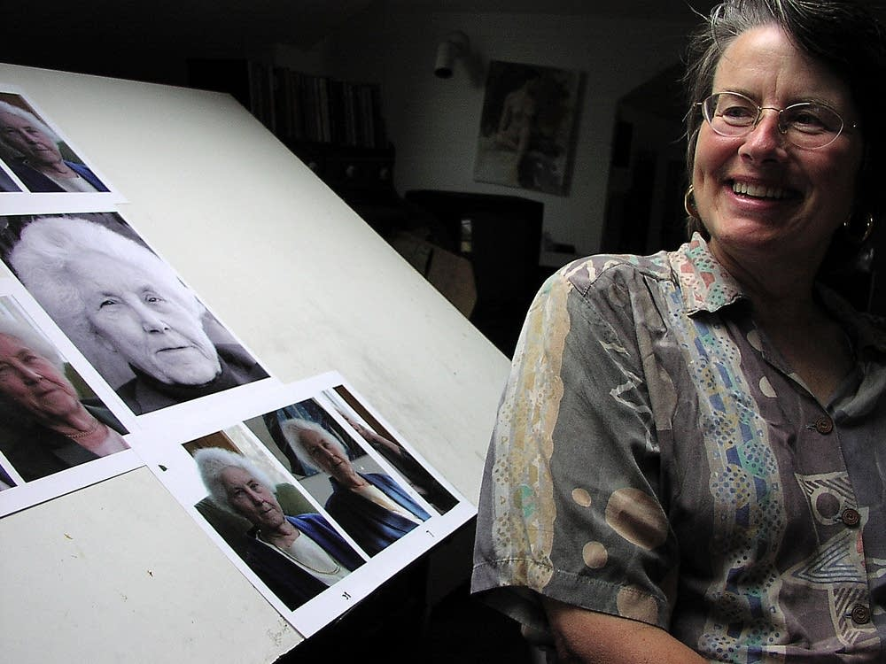 Leslie Bowman, with photos of her subject