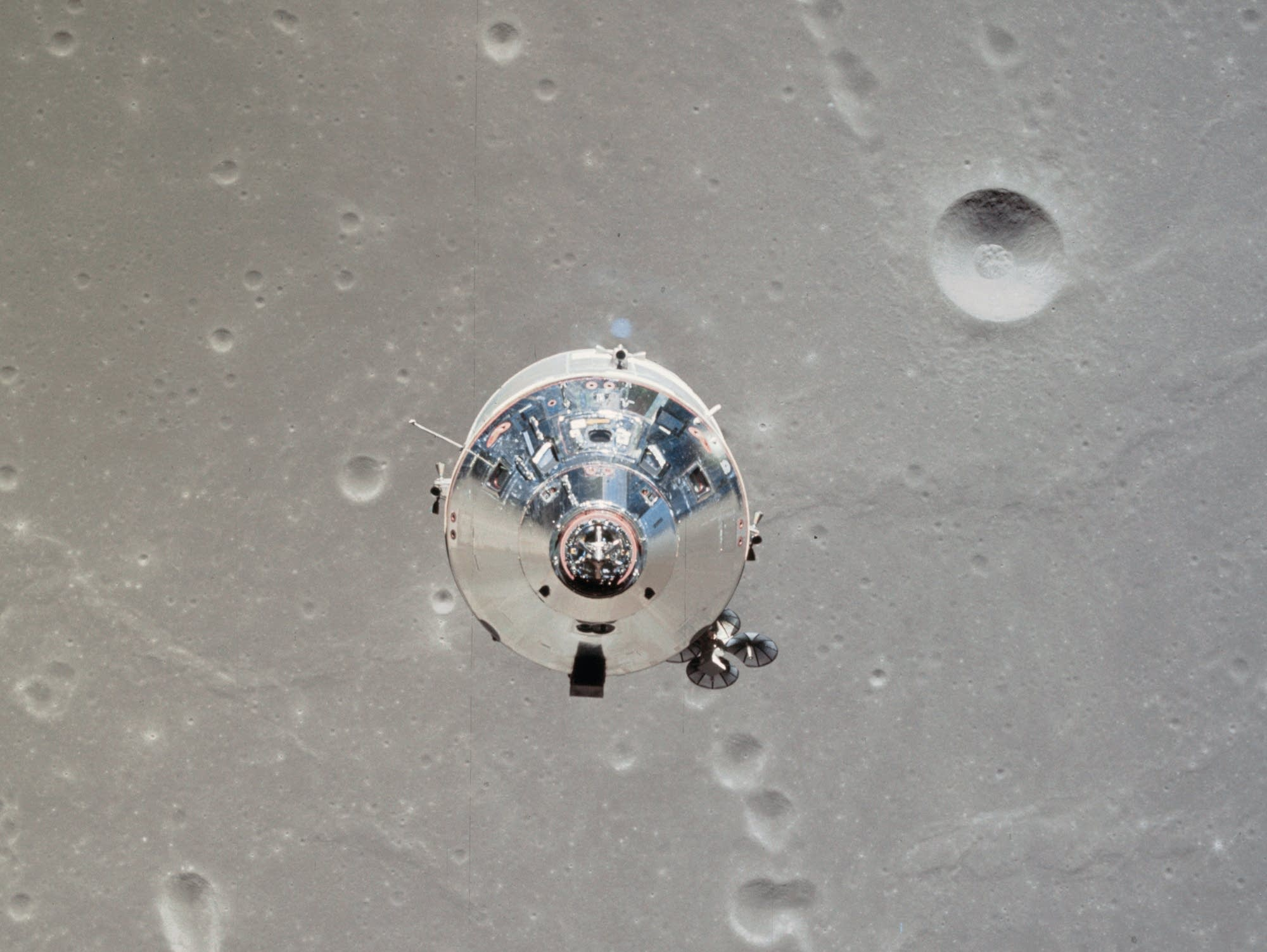 The Apollo 11 lunar lander viewed from the command service module