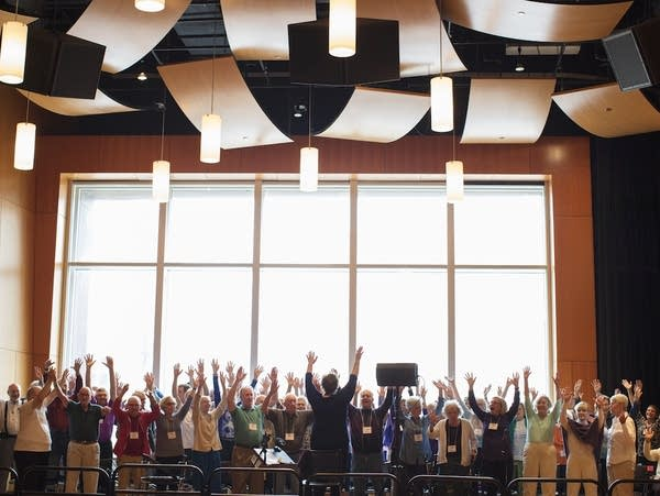 The Minneapolis Giving Voice Chorus in rehearsal at MacPhail.