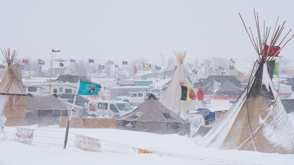 Heavy snows hit the camp near Standing Rock.