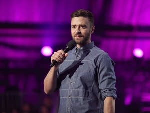 Justin Timberlake speaks at an event in California in Sept. 2017.