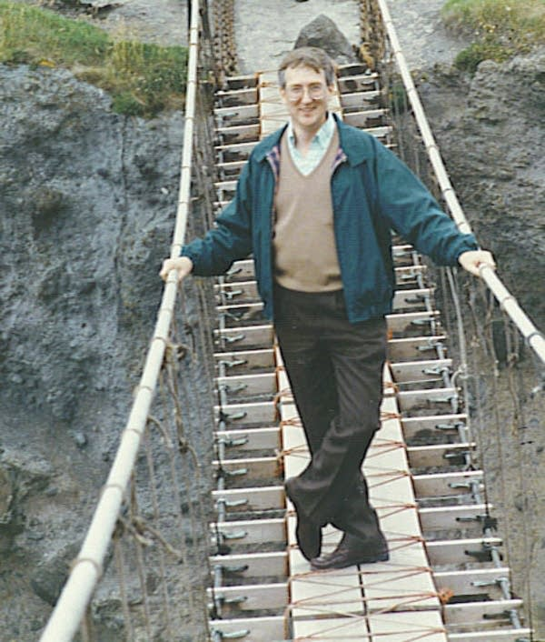 John Davenport on a bridge in Mongolia