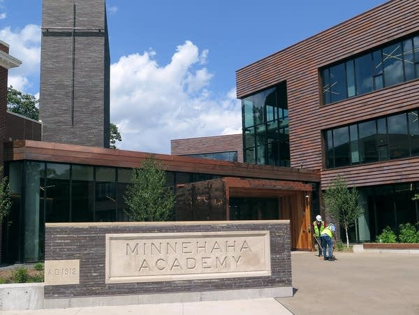 The main entrance of the new Minnehaha Academy building.
