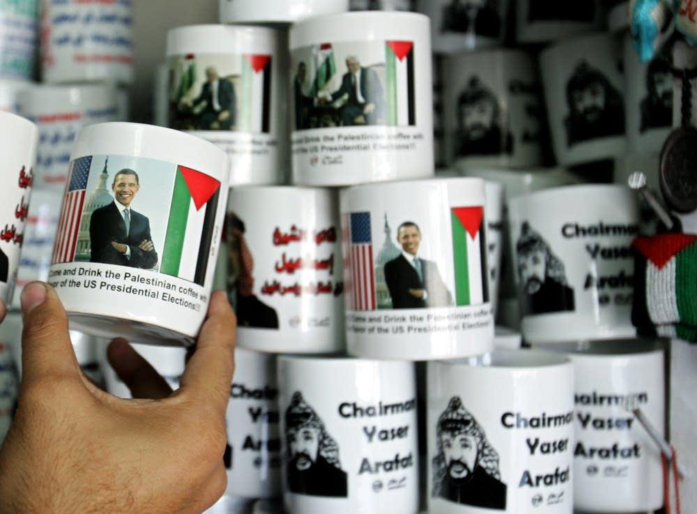 Mugs in Gaza  with the image of Barack Obama
