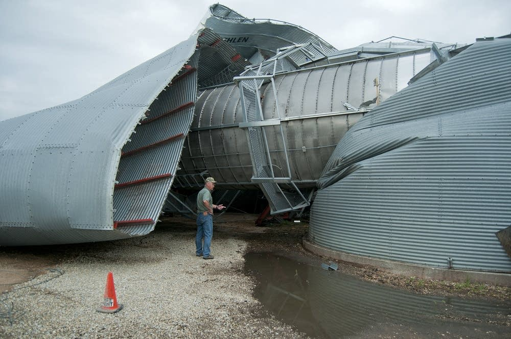 Grain bins were toppled by a tornado
