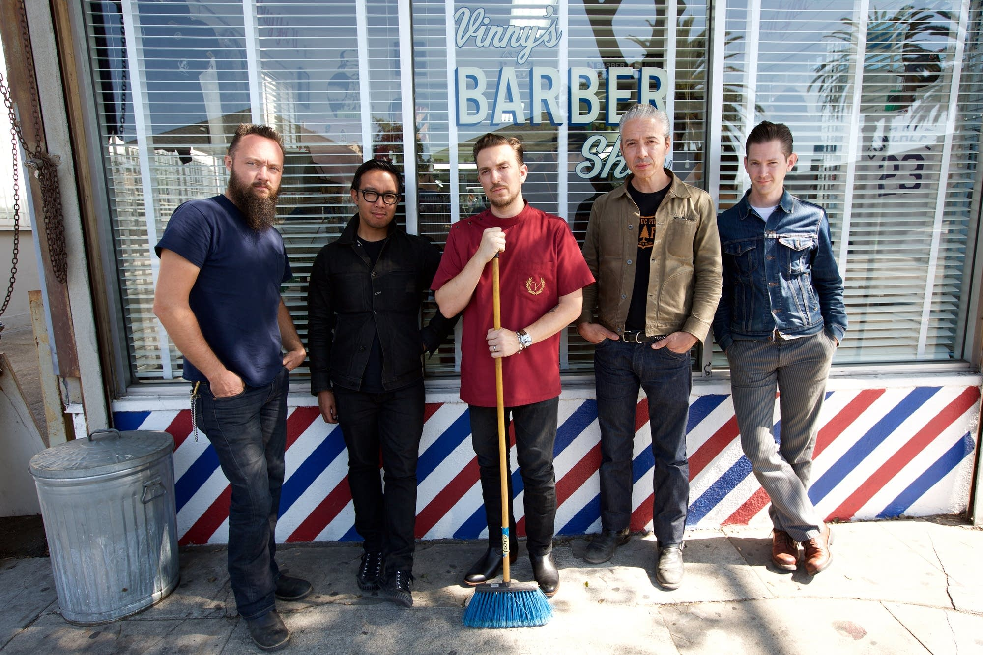 JD McPherson band outside Vinny's barbershop in Los Angeles