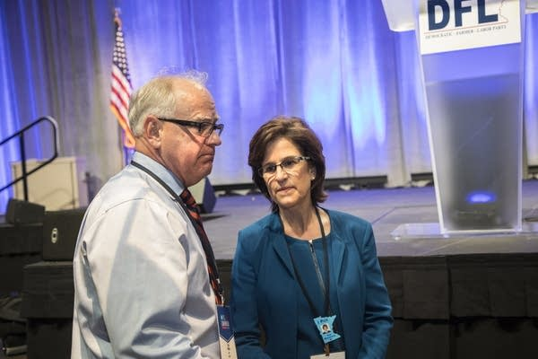 Tim Walz and Rebecca Otto speak together at the DFL convention.