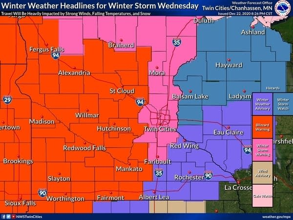 Winter storm warnings and advisories for Wednesday