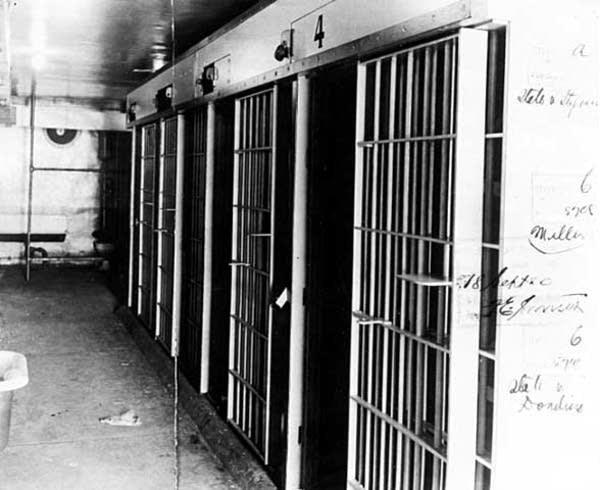 Cellblock in Duluth police station damaged by lynching mob in 1920.