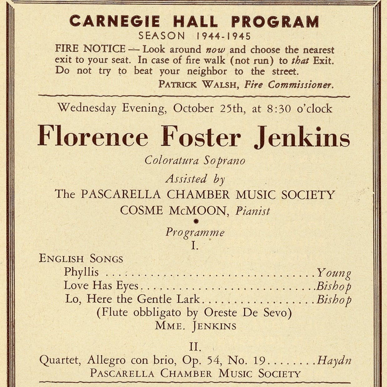 Program for Florence Foster Jenkins, 1944