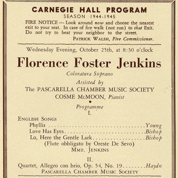 Program for Florence Foster Jenkins, 1944