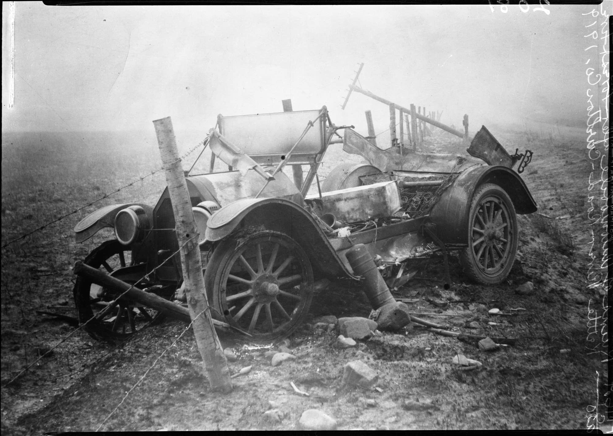 Burned cars lay in ruins along the roadsides throughout northern Minnesota.