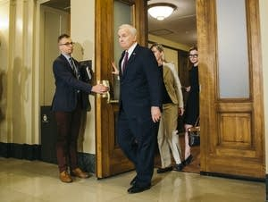 DFL Gov. Mark Dayton leaves the Cabinet Room.