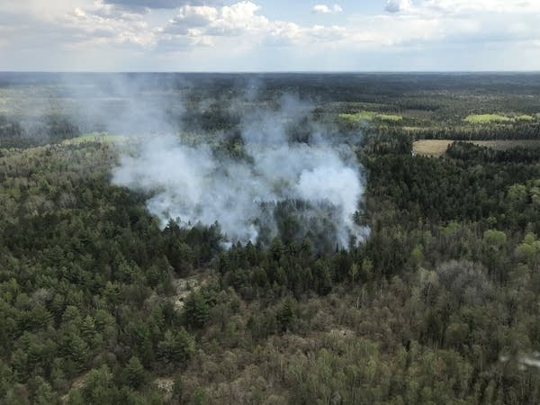 A wildfire burning in the BWCA.