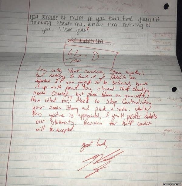 Student grades ex-girlfriend's apology letter