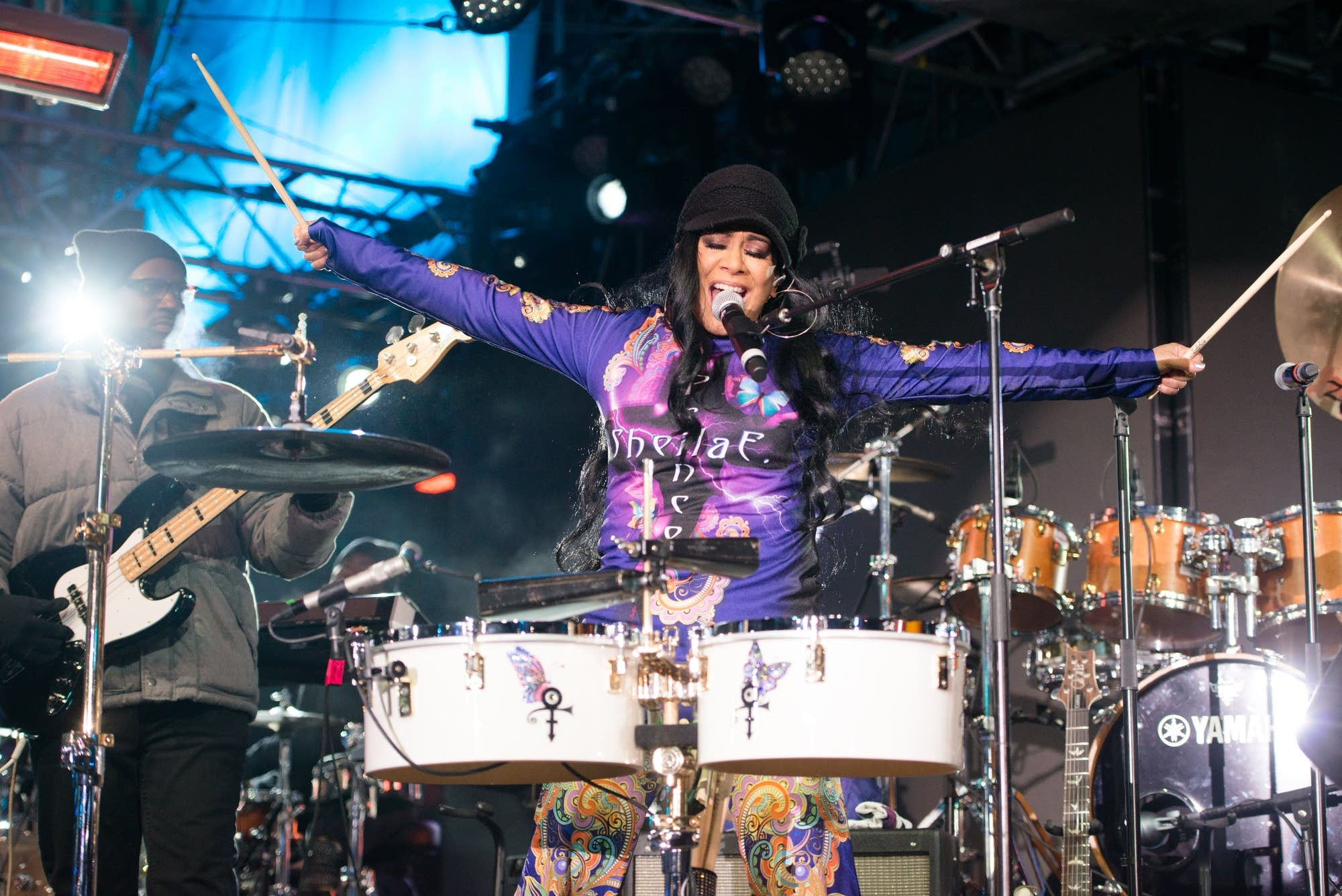 Sheila E performs in front of the IDS Center for Super Bowl LIVE.