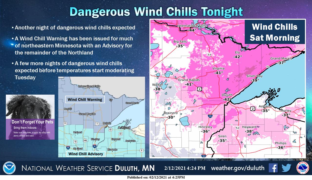 Wind chills in northern Minnesota