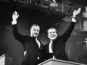 Nixon and Agnew wave on campaign, c. 1968.