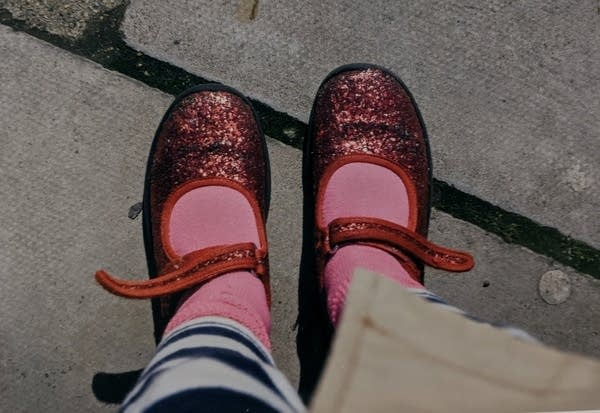 A pair of ruby red shoes.